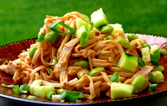 Cold Rice Noodles With Peanut-Lime Chicken Recipe — Dishmaps