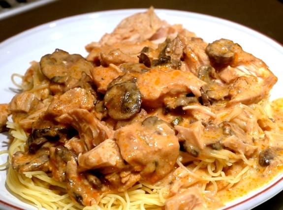 Slow Cooker Super Saucy Chicken over Angel Hair Pasta