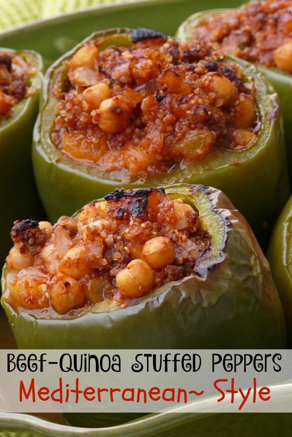 Beef-Quinoa Stuffed Peppers Mediterranean Style
