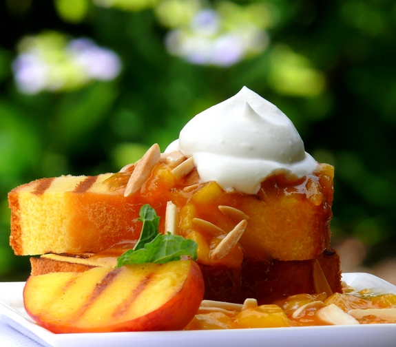 Grilled Pound Cake with Warm Peach Coulis and Chantilly Cream | Noble ...
