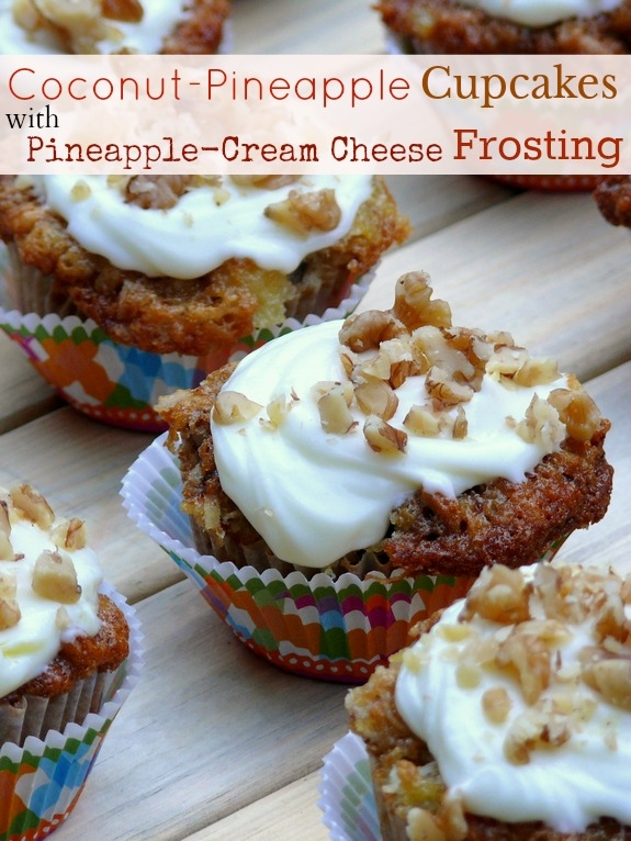 Coconut-Pineapple Cupcakes with Pineapple-Cream Cheese Frosting