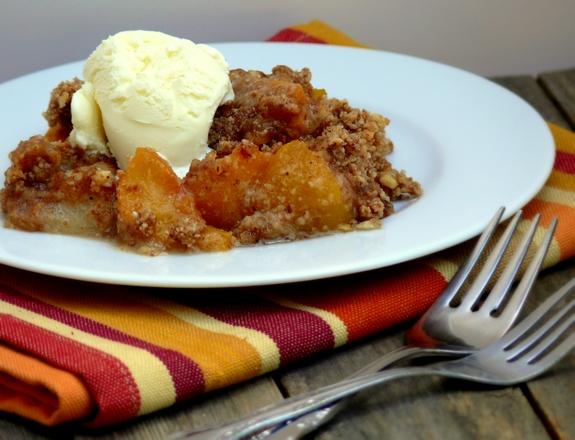 crisp peach crisp with maple cream sauce sugar free and gluten free ...