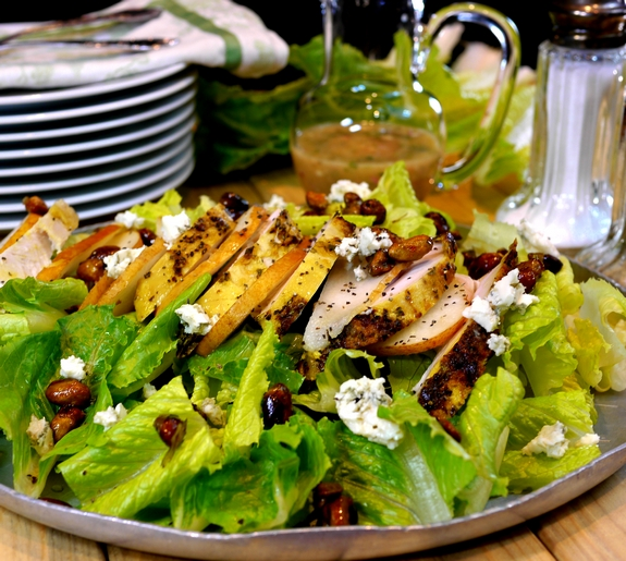 Grilled Chicken Pear Gorgonzola Candied Pecan Salad with Pear Gorgonzola Dressing NoblePig com via noblepig 3