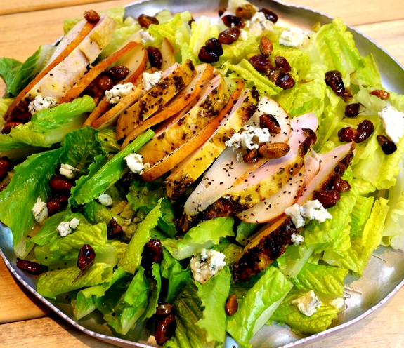 Grilled Chicken Pear Gorgonzola Candied Pecan Salad with Pear Gorgonzola Dressing NoblePig com via noblepig 5