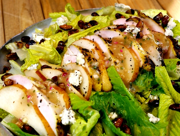 Grilled Chicken Pear Gorgonzola Candied Pecan Salad with Pear Gorgonzola Dressing NoblePig com via noblepig 6