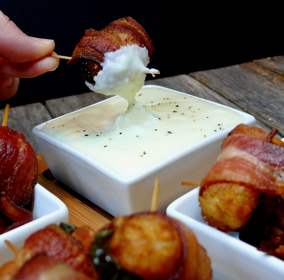 Bacon Jalapeno Wrapped Tater Tots with Jack Cheese Dipping Sauce 2