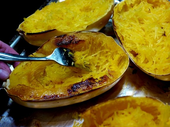 Sinfully Decadent Spaghetti Squash Bake strands