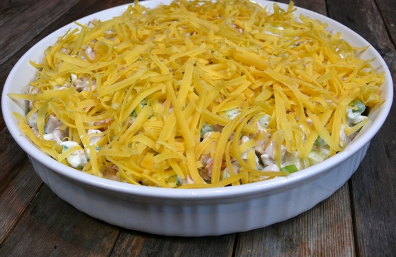 Warm Cheesy Leftover Ham Salad with Shoestring Potato Crunch cheese