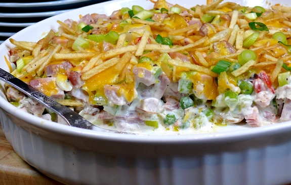 Warm Cheesy Leftover Ham Salad with Shoestring Potato Crunch empty