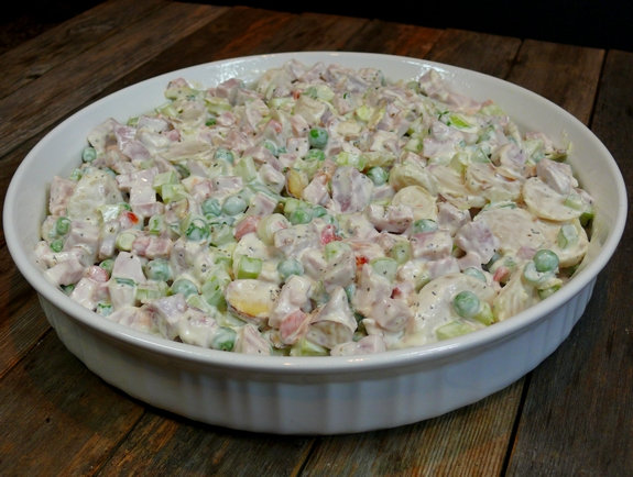 Warm Cheesy Leftover Ham Salad with Shoestring Potato Crunch salad