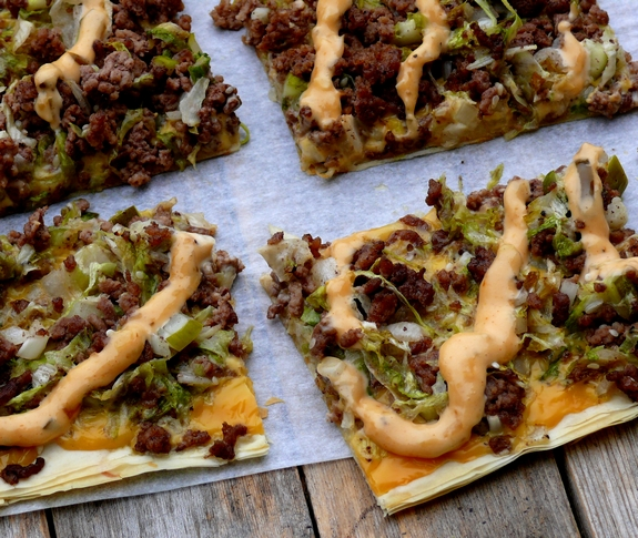 Cheeseburger Fillo Squares with Copycat Big Mac Sauce view