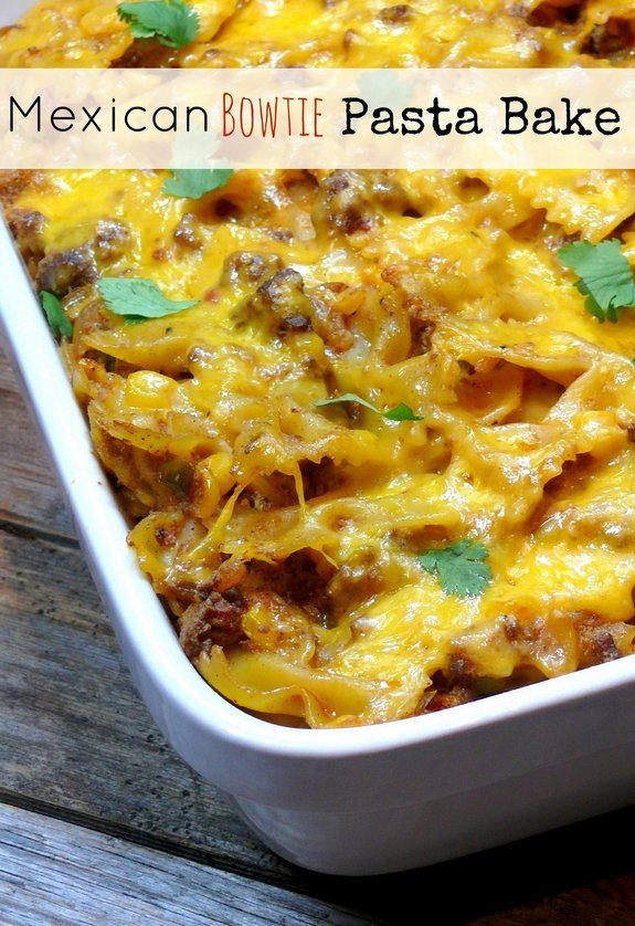 Mexican-Bowtie-Pasta-Bake from NoblePig.com