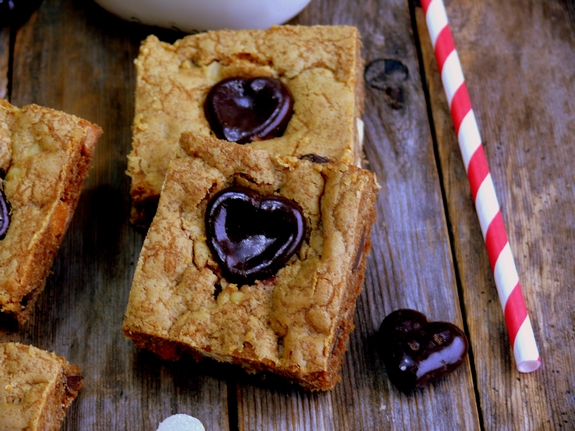 Bleeding Heart Chocolate Chip Bars squares