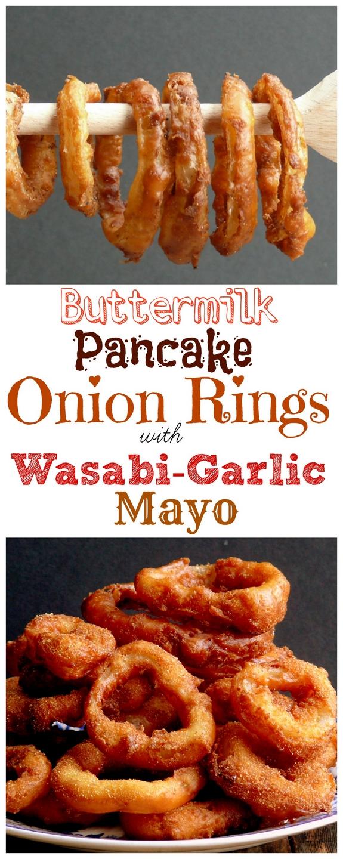 Buttermilk Pancake Batter Onion Rings with Wasabi-Garlic Mayo