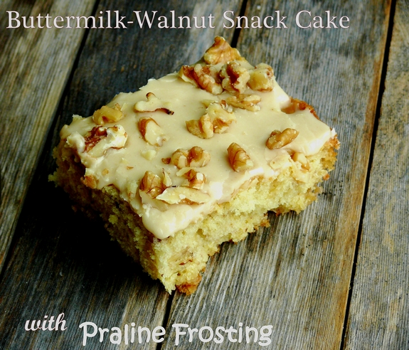 ButtermilkWalnut Snack Cake with Praline Frosting  Breakfast or dessert