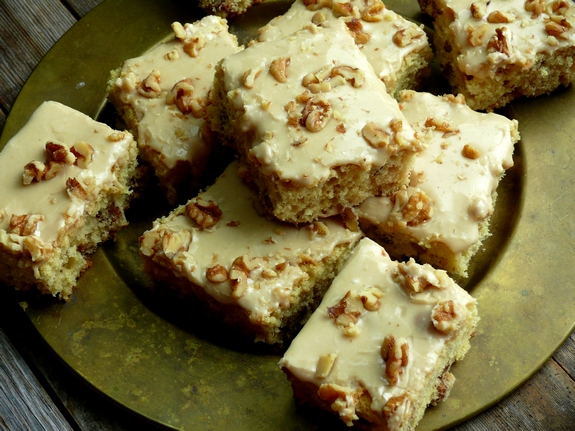 ButtermilkWalnut Snack Cake with Praline Frosting  Perfect with Coffee