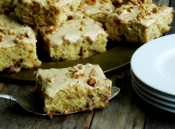 ButtermilkWalnut Snack Cake with Praline Frosting
