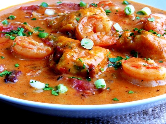 Creamy Shrimp Creole Soup with Bacon Cornmeal Dumplings  So Yummy