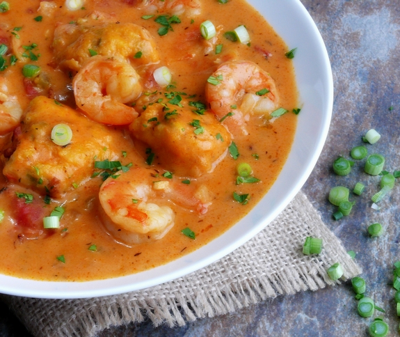 Creamy Shrimp Creole Soup with Bacon Cornmeal Dumplings