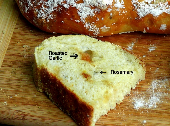 Easy Artisan Roasted Garlic Rosemary Bread slice