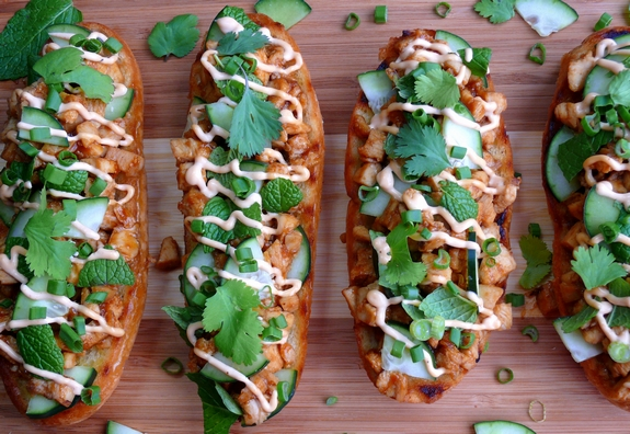 Open Faced Thai Style Chicken Sandwiches 1