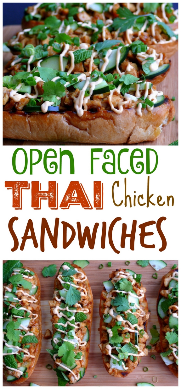 Open Faced Thai Style Chicken Sandwiches