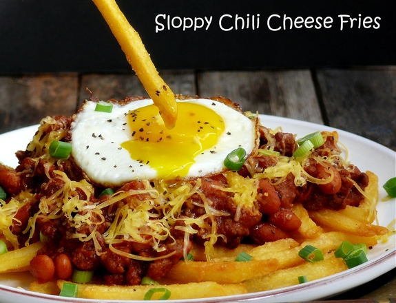 Weeknight Sloppy Chili Cheese Fries perfect for dipping