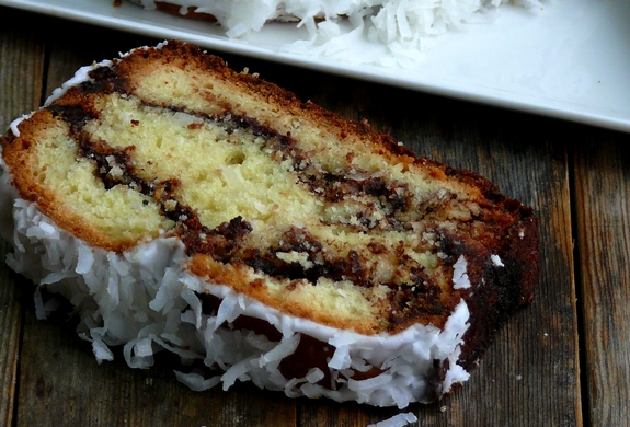 Coconut Milk Nutella Swirl Bread piece