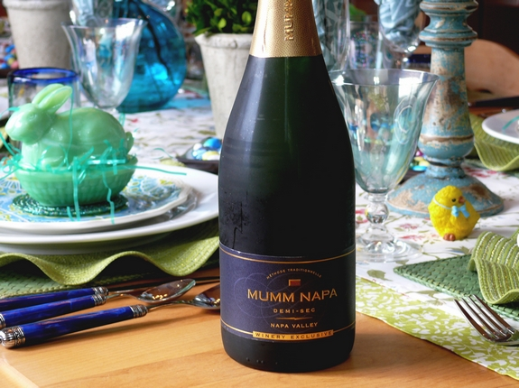 Easter Table Setting  Mumm Sparkling Wine Demi Sec