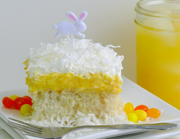 Orange Creamsicle Poke Cake perfect for Easter