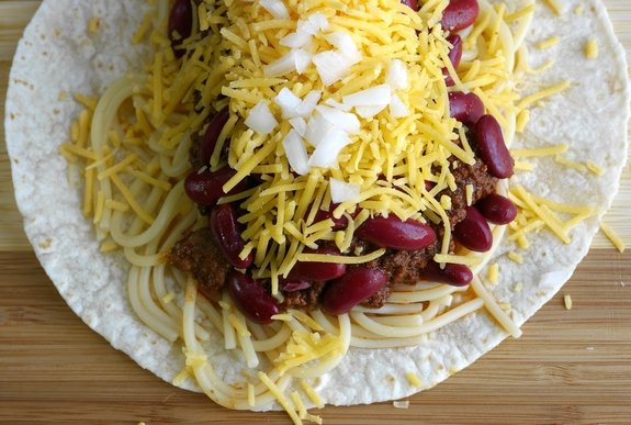 Smokey Cincinnati Chili Tacos open face