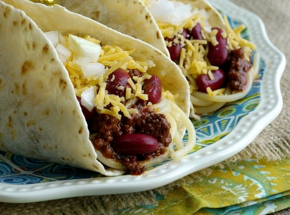 Smoky Cincinnati Chili Tacos