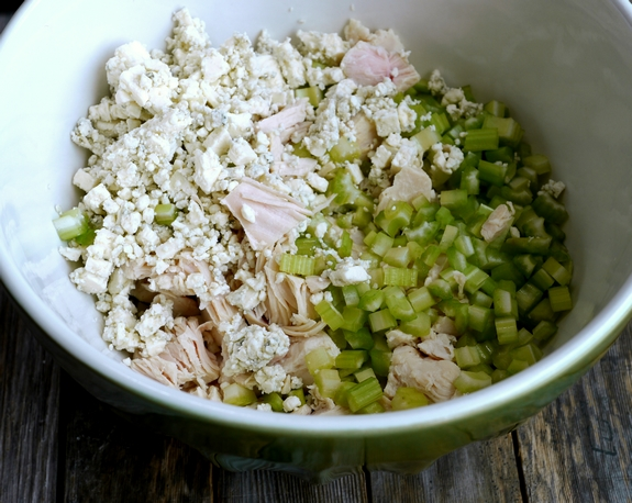 ... chicken, celery, and blue cheese crumbles. I toss this with a buffalo