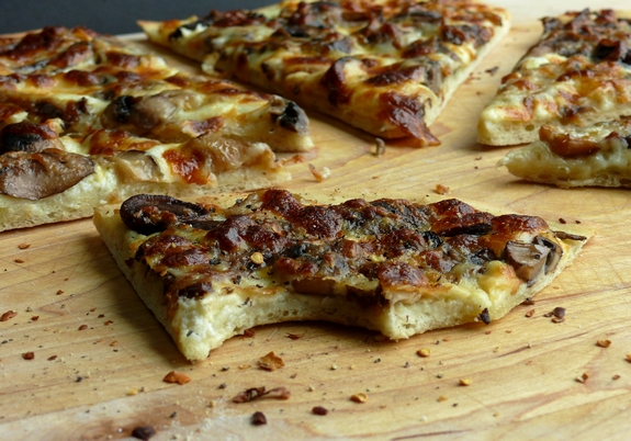 Cheesy Four Mushroom White Pizza slices