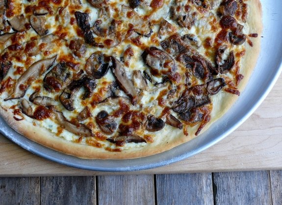 Cheesy Four Mushroom White Pizza