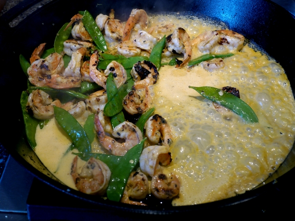 Coconut Milk Lemongrass Shrimp in the cast iron skillet