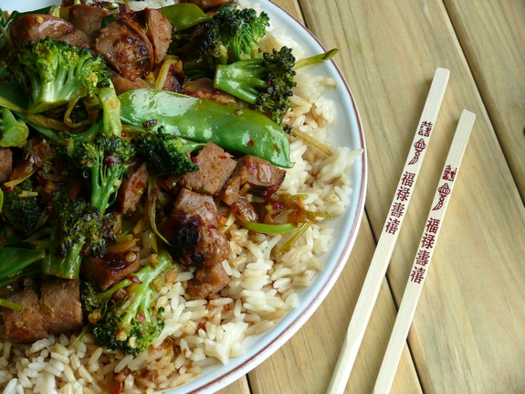 Italian Sausage Rice Bowl with chopsticks