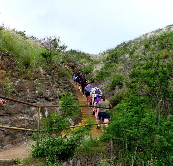 Visiting Diamond Head National Park first set of stairs