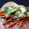 Smokey Sweet Potato Fry-Black Bean Tacos with Maple-Jalapeno Cream