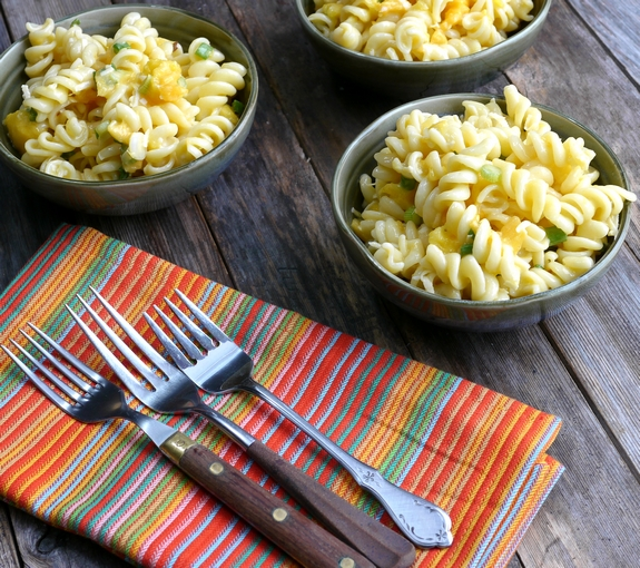 Mango and Papaya Pasta Salad with Creamy Lime Vinaigrette perfect side dish