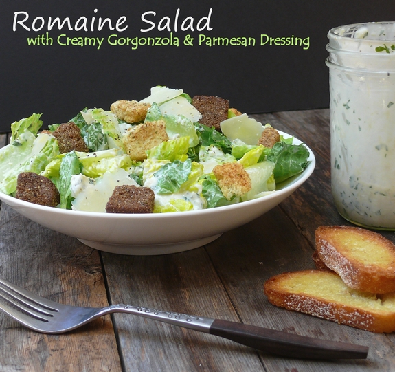 Romaine Salad with Creamy Gorgonzola and Parmesan Dressing easy to make