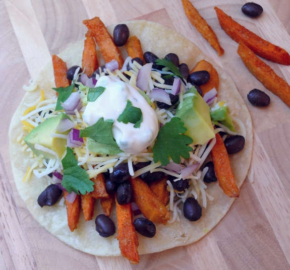 Smokey Sweet Potato Fry and Black Bean Tacos with Maple Jalapeno Cream 1