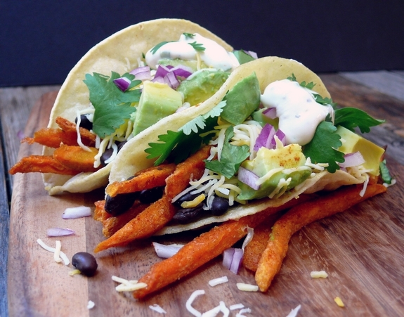 Smokey Sweet Potato Fry and Black Bean Tacos with Maple Jalapeno Cream vegetarian