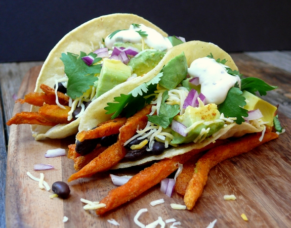 Smokey Sweet Potato Fry and Black Bean Tacos with Maple Jalapeno Cream