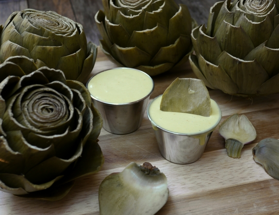 Steamed Artichokes with Garlic Orange Basil Cream Dipping Sauce