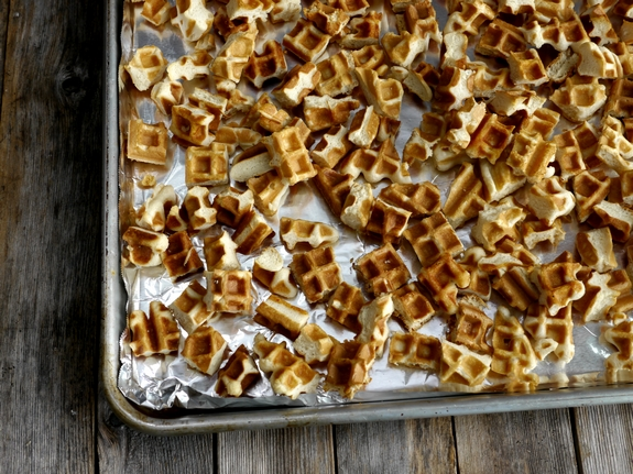 Maple Bacon Waffle Bread Pudding waffle pieces