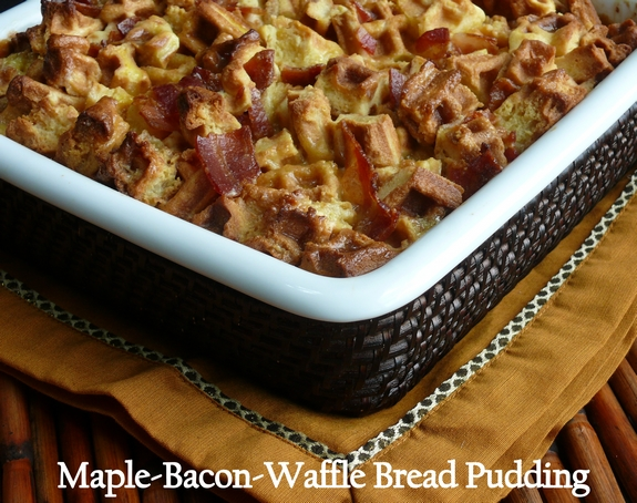 Maple Bacon Waffle Bread Pudding