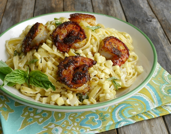 Almost Sauceless Creamy Corn Fettucine with Blackened Shrimp a delicious meal