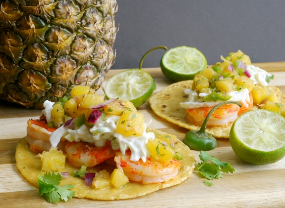 Grilled Shrimp Tacos with Grilled Pineapple Jalapeno Salsa