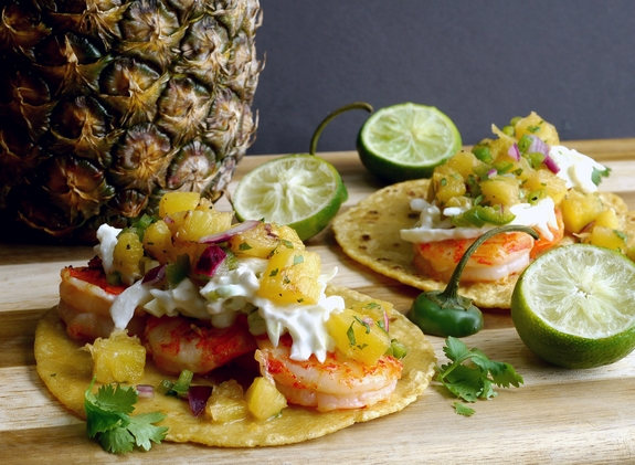 Shrimp Tacos with Grilled Jalapeno-Pineapple Salsa from Noble Pig